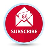 Προσυπογράψτε (εικονίδιο ηλεκτρονικού ταχυδρομείου ενημερωτικών δελτίων) το επίπεδο πρωταρχικό κόκκινο στρογγυλό κουμπί απεικόνιση αποθεμάτων