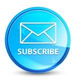 Προσυπογράψτε (εικονίδιο ηλεκτρονικού ταχυδρομείου) το φυσικό μπλε στρογγυλό κουμπί παφλασμών ελεύθερη απεικόνιση δικαιώματος