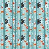 πρότυπο άνευ ραφής Περίεργα ψάρια ενυδρείων προσοχής γατακιών που κολυμπούν μεταξύ του φυκιού Διανυσματική απεικόνιση των ψαριών  διανυσματική απεικόνιση