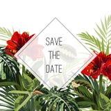Πρότυπο καρτών πρόσκλησης γεγονότος γαμήλιου γάμου Κόκκινα λουλούδια κρίνων, βεραμάν εξωτικά τροπικά φύλλα φοινίκων monstera ελεύθερη απεικόνιση δικαιώματος
