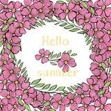 Πρότυπο με τα λουλούδια και το καλοκαίρι επιγραφής γειά σου απεικόνιση αποθεμάτων