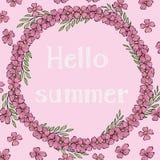 Πρότυπο με τα λουλούδια και το καλοκαίρι επιγραφής γειά σου Στεφάνι των λουλουδιών με το διάστημα για το κείμενό σας Ζωηρόχρωμο δ διανυσματική απεικόνιση