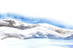 Πρότυπο σελίδων Αφηρημένο τοπίο Watercolor Τομείς πάγου, κρύα βουνά ελαφρύς νεφελώδης ουρανός Χέρι που επισύρεται την προσοχή σε  ελεύθερη απεικόνιση δικαιώματος