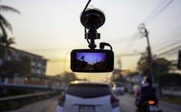 Πρωί αυτοκινήτων και ήλιων εικόνων στη κάμερα στο αυτοκίνητο στοκ φωτογραφίες με δικαίωμα ελεύθερης χρήσης