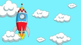 Πύραυλος ή διαστημόπλοιο κινούμενων σχεδίων που ταξιδεύει την ανοδική νεφελώδη ζωτικότητα ουρανού Εξερεύνηση περιπέτειας ή εύρεση ελεύθερη απεικόνιση δικαιώματος