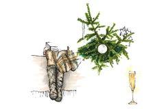 Πόδια της συνεδρίασης κοριτσιών κοντά στο χριστουγεννιάτικο δέντρο, νέο σκίτσο έτους στοκ φωτογραφίες