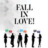 Πτώση κειμένων γραψίματος λέξης ερωτευμένη Επιχειρησιακή έννοια για το αίσθημα των συγκινήσεων αγάπης για κάποιο άλλο ευτυχία Roa διανυσματική απεικόνιση