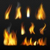 Πυρκαγιά ρεαλιστική Κόκκινη πορτοκαλιά γλώσσα της φλόγας που καίγεται την τρισδιάστατη διανυσματική συλλογή στο διαφανές υπόβαθρο ελεύθερη απεικόνιση δικαιώματος
