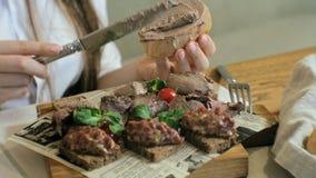 Πυροβολισμός κινηματογραφήσεων σε πρώτο πλάνο: ένα νόστιμο πιάτο κρέατος, croutons ψωμιού σίκαλης με το πατέ και την πίσσα πίσσας απόθεμα βίντεο