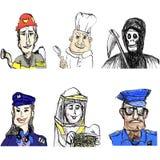 Πυροσβέστης, αρχιμάγειρας, πειραματική γυναίκα, μελισσοκόμος, αστυνομικός, άγγελος του θανάτου διανυσματική απεικόνιση