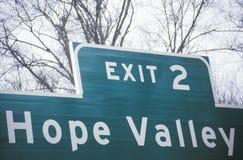 读ï ¿ ½出口2希望Valleyï ¿ ½的标志 库存照片