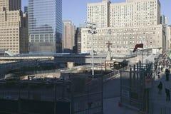 ï ¿在Earthï ¿ ½世界贸易的½孔耸立纪念站点2001年9月11日,纽约, NY 图库摄影