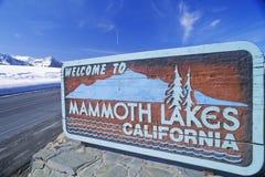 ï ¿ ½欢迎到沿车行道,庞然大物,加利福尼亚的声势浩大的湖Californiaï ¿ ½标志 库存照片