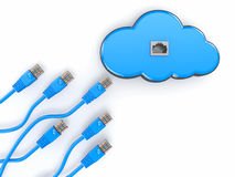 �loud computing concept.  Rj-45 plugs on white background. Royalty Free Stock Image
