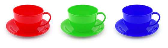 Collection of childrens toys cups (Clipping path) Stock Photography