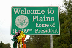 ï ¿ ½ powitanie Plainsï ¿ ½ znak dom 39th prezydent, Jimmy Carter, równiny, Gruzja Zdjęcie Stock