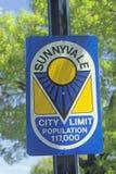 ï ¿ ½ Sunnyvale miasta Limitï ¿ ½ znak, Sunnyvale, Krzemowa Dolina, Kalifornia Fotografia Royalty Free