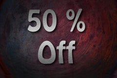 ï ¿ ½ 50% weg von handgeschriebenem mit weißer Kreide auf einer Tafel Stockfotografie