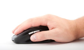 Нand with computer mouse. On white royalty free stock photo