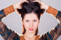 Рortrait of young beautiful woman of brunette Stock Photography