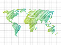 Sketchy World map Stock Photos
