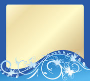 Сard - blue and gold. Royalty Free Stock Images
