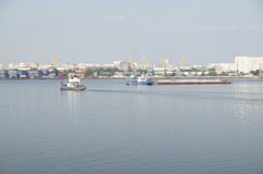 Ð¡argo port on the Moscow river Royalty Free Stock Photos