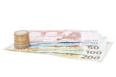 Сentimes and Euro-banknotes. Stock Photography