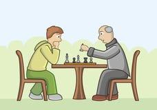 Сhess competition: teen vs. senior. Royalty Free Stock Photo