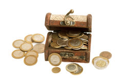 Сhest full of coins. Stock Photography