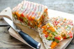 Ð¡hicken galantine with vegetables Stock Photo