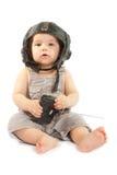 Ð¡hild in a helmet of the tankman. Child in a helmet of the tankman royalty free stock photo