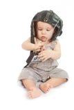Ð¡hild in a helmet of the tankman. Child in a helmet of the tankman stock photo