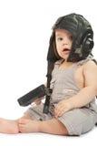 Ð¡hild in a helmet of the tankman. Child in a helmet of the tankman royalty free stock photography