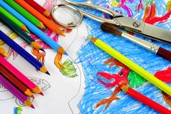 Ð¡hild's drawing with colored penci Royalty Free Stock Images