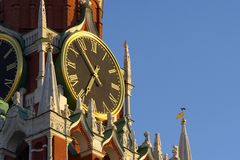 Ð¡himing clock. Chiming clock in the Moscow Kremlin royalty free stock photo