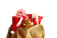Ð¡hristmas sack full of presents Royalty Free Stock Photos