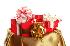 Ð¡hristmas sack full of presents Royalty Free Stock Photography