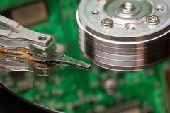 Сloseup of a hard disk head Stock Photo