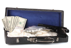 Ð¡ocaine and marijuana with gun in a suitcase Stock Photography