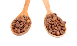 Сoffee beans in wooden spoon Royalty Free Stock Photo