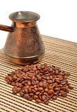 Ð¡offee pot and coffee on the tablecloth Royalty Free Stock Image