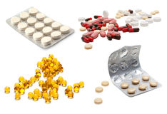Сollage from tablets and capsules Stock Images
