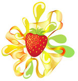 Сolorful strawberry background with splash Royalty Free Stock Photography