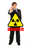 Ð¡oncept-radiation hazard! Man showing stop. Ð¡oncept-radiation hazard! Full length portrait of confident businessman showing stop gesture isolated on white stock image