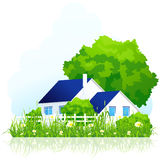 Сountry house in grass Stock Image