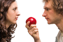 Сouple with apple Royalty Free Stock Image