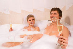 Сouple enjoying a bath Royalty Free Stock Image