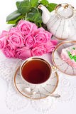 Сup of tea and roses Royalty Free Stock Image