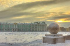 Утро в Санкт-Петербурге. Winter morning in St. Petersburg. It was cold and frosty Royalty Free Stock Images
